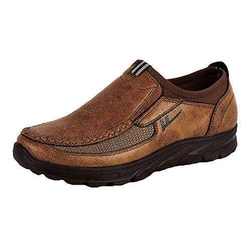 Kootk Mokassins Herren Leder PU Slipper Bootschuhe Slip On Schuhe Atmungsaktive Loafers Halbschuhe Rutschfeste Freizeitchuh 44 (Straße Casual Loafer)