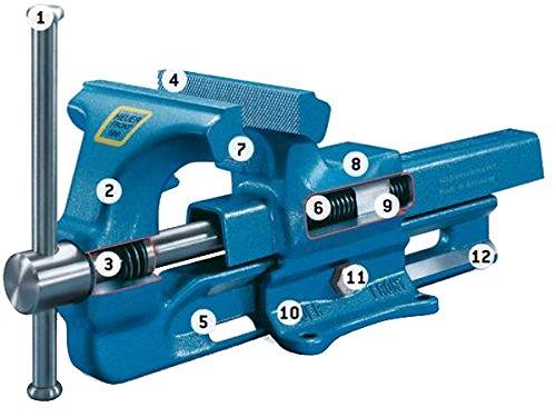 HEUER 100120 Schraubstock (120 mm) | ganz aus Stahl (unzerbrechlich) mit integriertem Amboss und Trapezgewinde, für höchste Präzision | Backenbreite: 120mm, Durchmesser: 16-55mm, 9 Kg - 2