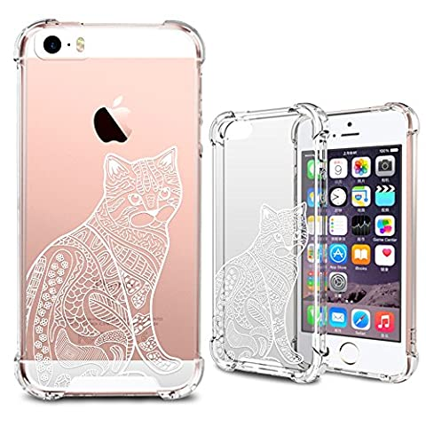 iPhone SE Case, iPhone 5S Clear Case, MISS ARTS White Floral Cat Premium Shock Absorption TPU Bumper Cushion + Scratch Resistant Clear Protective Cases Hard Cover for Apple iPhone SE 5S 5 - Cat