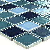 Keramik Mosaik Blau Mix Glänzend