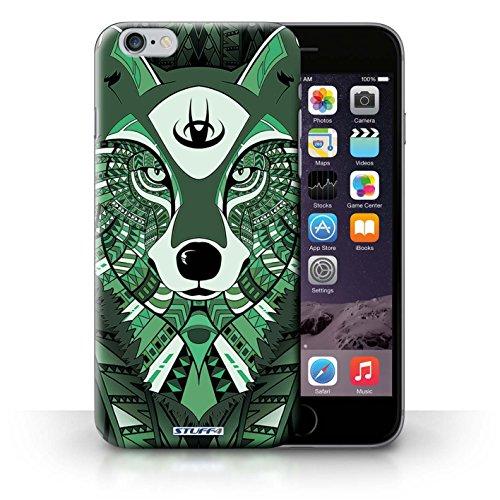 Coque en plastique pour iPhone 6+/Plus 5.5 Collection Motif Animaux Aztec - Loup-Cramoisi Loup-Vert