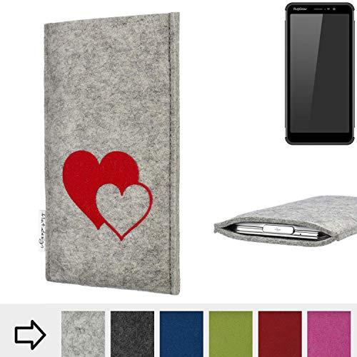 flat.design für Ruggear RG850 Handy Schutzhülle FARO mit Herzen - Handy Schutz Case Etui Made in Germany in Hellgrau rot - handgefertigte Smartphone-Tasche für Ruggear RG850