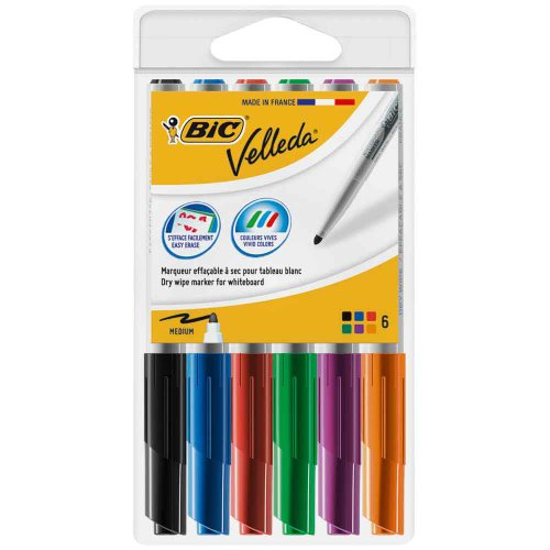 bic-velleda-1741-rotuladores-multicolor-para-pizarra-blanca-de-borrado-facil-trazo-medio-6-unidades