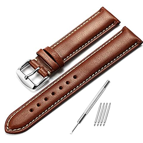 iStrap 18mm Genuine Leather Watch Strap Padded Pattern Replacement Watch Band Polished Pin Buckle Super Soft-Dark brown with beige