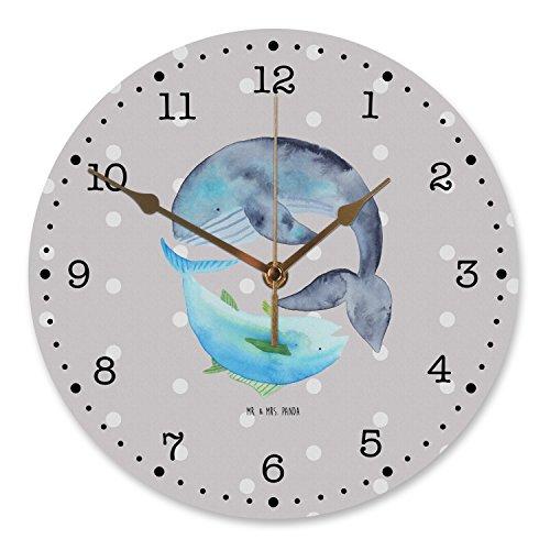 Mr. & Mrs. Panda Küchenuhr, Uhr, 30 cm Wanduhr Walfisch & Thunfisch - Farbe Grau Pastell