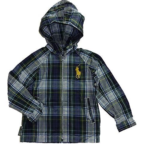 Ralph Lauren bambini giacca transizione da ragazzo con cappuccio Big Pony Polo Reiter Logo marchio blu verde bianco a quadretti 104