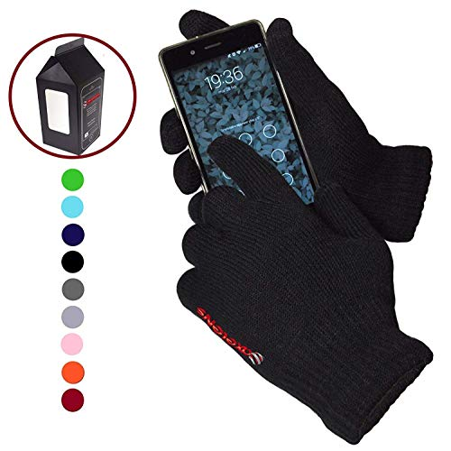 Guanti touch screen felpati morbidi - unisex - per smartphone, cellulari e tablet - confezione regalo inclusa - nero