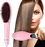 Easy Deal India Electric Instant Magic Silky Anti-Scald Anti-Static Zero Damage Pro Detangling Anion Hair Straightening Comb (Pink)