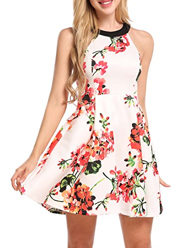 Meaneor Damen Elegant Ärmellos Neckholder Kleid Strandkleid Blumenkleid Partykleid Minikleid bedrucktes Sommerkleid kurz