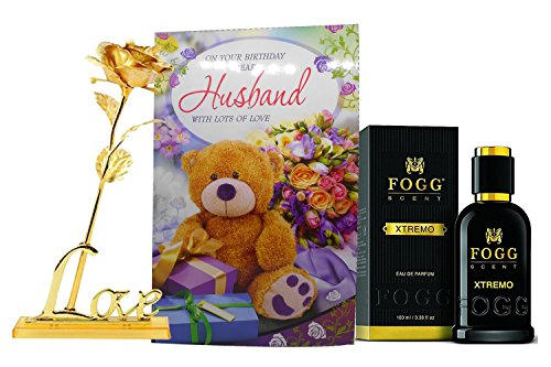 Saugat Traders Birthday Gift for Husband   Birthday Greeting Card, Perfume & Artificial Golden Rose with Love Stand