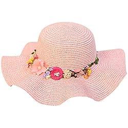 Zegeey Chapeau de Soleil d'été Lady Grass Hat Grand Chapeau de Soleil en Plein air Yanbian Chapeau de Plage Simple Petit Chapeau Frais Copper Nail Flower Wild Sun Hat