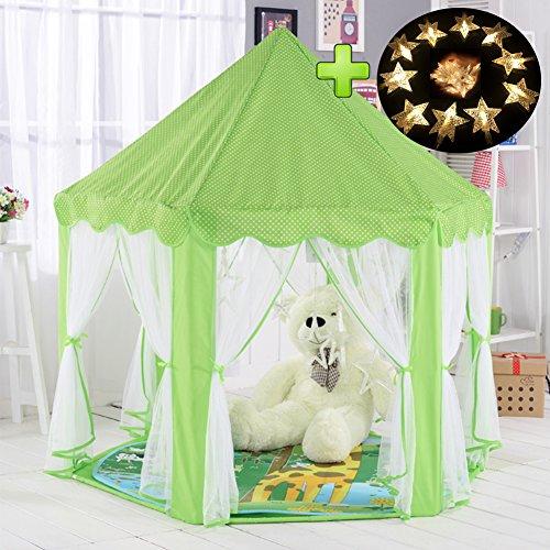 Kinderzelt, kinderspielzelt,Prinzessin Castle Spielzelt, Kinder Nook Zelte für Indoor & Outdoor Use, Tragetasche, Baby Geburtstagsgeschenk, Für Kinder im Alter unter 10 Jahren (Grün) (Prinzessin Material Für Raum)
