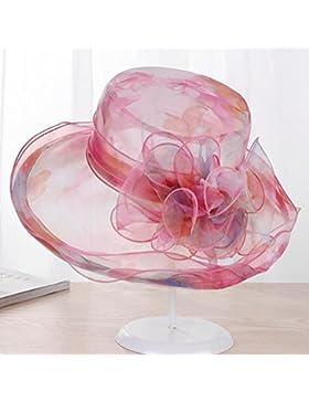 MLNR Sombreros Panamá Mujer Protección UV Borde ancho di Sombreros, Flores Paño Mariposas de viento Bordado Viseras...