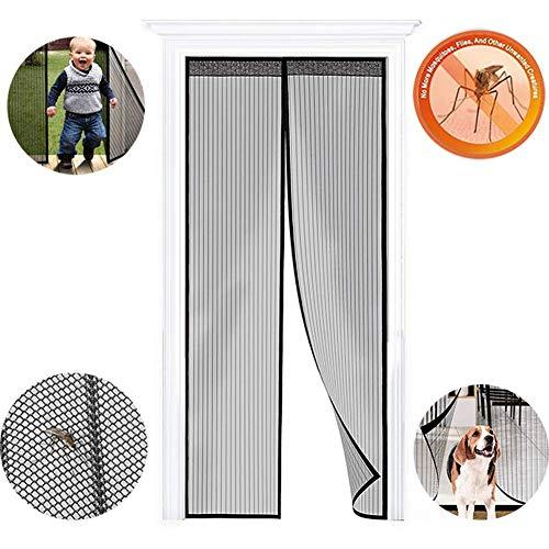 WISKEO Fliegengitter Balkontür Magnet Insektenschutz, Fliegenvorhang Klebemontage Ohne Bohren, Moskitonetz Magnetverschluss, Full Frame, Fenster Terrassentür - Schwarz 100x215cm(39x85inch)