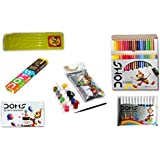 [Sponsored Products]Combo Pack Of Doms Neon Rubber Tipped Pencil + Doms Full Size 24 Colour Pencils + Doms 12 Sketch Pens + 12 Wax Crayons + Doms Tempera Colours 12 Shades + 1 Free Compass Box