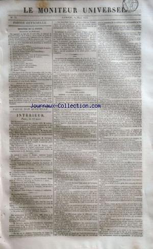 MONITEUR UNIVERSEL (LE) [No 75] du 14/03/1835 - ministere de la justice - successions en desherence - m. lebreton , catherine frechon , marie-jeanne vanschelferghen , quentin-joseph debre , jeanne-madeleine clas veuve letertre, alexis, homme de couleur , jean-baptiste alexandre , dame soran veuve gachet , veuveu giraud , noel turrelure , femme balteau nee lecacheux , veuve chatin nee servant , delle pietro, joseph mailhot - le tribunal de nimes et jospeh-marie de jossaud tribunal de caen et jac