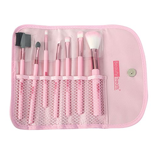 (6 Pack) BEAUTY TREATS 7 PIECE BRUSH SET IN POUCH - ROSE GOLD