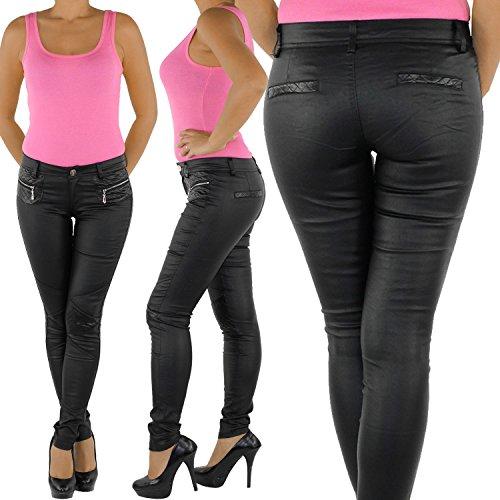 Damen Kunstlederhose Röhrenhose Bikerhose Damenhose Leder Look Hose Röhre Schwarz Schwarz