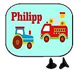 wolga-kreativ Auto Traktor Feuerwehr mit Name Auto SonnenSchutz und SonnenBlende für Baby und Kind personalisiert Wunschname (Doppelpack)