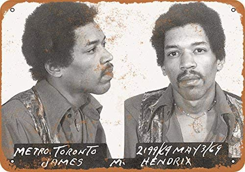 Vincentney New Tin Sign 1969 Jimi Hendrix Mug Shot Wall Plaque Retro Novelty Metal Sign Aluminum 8x12 INCH -