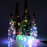 Lot de 6Bouteille de vin Cork Lights–78pouces/2m 20LED Argent Wire String Lights Starry LED pour bouteille DIY, fête, décor, Noël, Halloween, Mariage ou humeur Lumières, Mehrfarbig, E27 5.00 wattsW