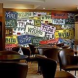 DACHENZI Plaque D'Immatriculation De Voiture De Rue Vintage Papier Peint en PVC 3D Coffee Shop Restaurant Ktv Thème Fond D'Écran 3D Boîte en Relief