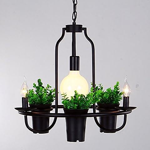 ZQ@QX Decorazione della casa pianta vaso Lampadario creativo Cafe Lampadario bar Lampadario in ferro fiore decorativo,Singolo strato 70cm - Fluorescente Pianta Lampadine