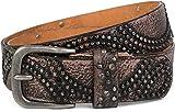 styleBREAKER Vintage Nietengürtel mit glitzerndem Strass und Nieten in runder Anordnung, Damen 03010066, Farbe:Altrosa;Größe:85cm