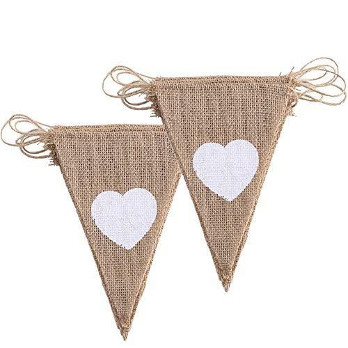 elkette Hochzeit Vintage Girlande Herz Wimpelkette Jute Stoff Wimpelgirlande Sackleinen Banner Vintage Deko für Geburtstag Party Baby Shower (3.4m/11.15 ft) ()