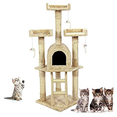 Cozy Pet Deluxe Multi Level Cat Tree Scratcher Activity Centre Scratching Post Toys Cat Trees with Heavy Duty Sisal in Beige, Grey and Pink.
