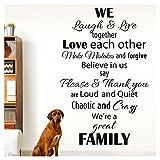 Grandora W5540 Wandtattoo Spruch We're a great family I gelbgrün (BxH) 58 x 90 cm I Wohnzimmer Flur Diele Aufkleber Wandsticker Wandaufkleber