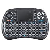 ESYNIC Mini Clavier Rétroéclairé Sans Fil (AZERTY) avec Touchpad pour Xbox 360, Freebox, Box Android TV, PC, Smart TV, Raspberry Pi, PS3,Vidéo-Projecteur