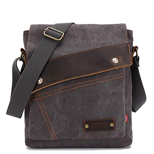 Lbag Canvase Retro Style Bag, Single Shoulder, Men and Women Vertical Messenger Bag,Gray -