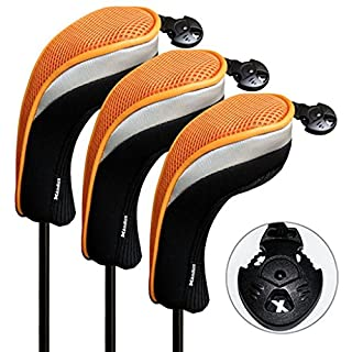 3 Pack Andux Golf Hybrid Club Head Covers Interchangeable No. Tag Black & Orange MT/hy07
