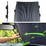 Hamkaw Visera del Coche Parabrisas Automático Telescópico Protector Solar, Parasol automático para Coche con Ventosa, Retráctil, Parasol Plegable para Auto, SUV(46-70cm)