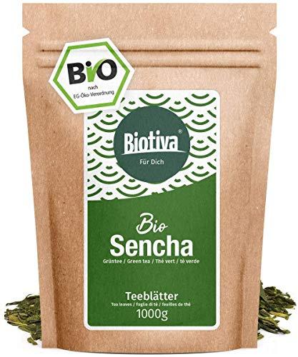 Sencha Grüntee Bio 1000g - Top Sencha - 1kg-Spitzenpreis - Mild, leicht grasig, dabei feinherb und blumig - Fairbiotea-Zertifikat - Abgefüllt und kontrolliert in Deutschland (DE-ÖKO-005)