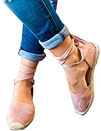 662aa5da Poplover Zapatos Alpargatas de Ante para Mujer Verano Zapatos Planos con Cordones  35-43