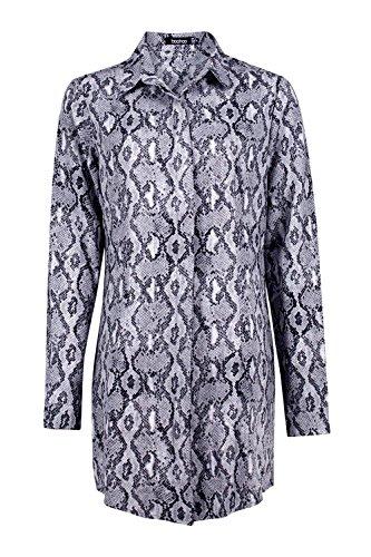 gris Hommes Stassy Snake Impression Shirt Robe Gris
