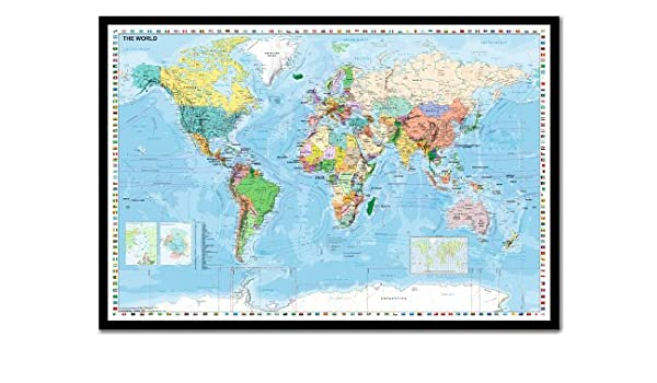World map with flags pinboard cork board with pins framed in world map with flags pinboard cork board with pins framed in black wood includes pins 965 x 66 cms approx 38 x 26 inches amazon kitchen sciox Gallery