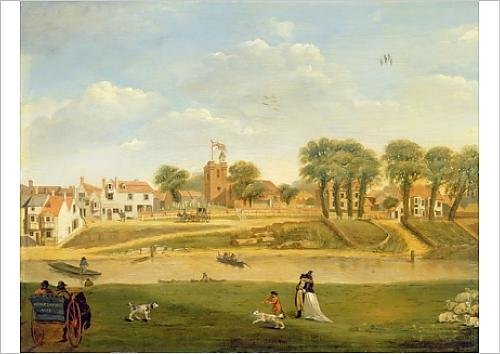 fine-art-print-of-the-old-parish-church-and-village-hampton-on-thames-middlesex-oil-on-panel