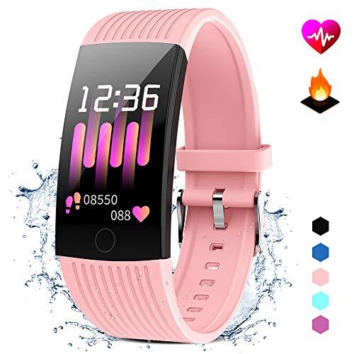 d mit Pulsmesser Damen Herren Wasserdicht IP67 Fitness Tracker Smartwatch Aktivitätstracker Pulsuhr Schrittzähler Uhr Sportuhr für iPhone Android Handy (pink) ()
