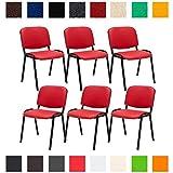 CLP 6X Konferenzstuhl Ken mit Stoffbezug oder Kunstlederbezug I 6 x Stapelstuhl mit robustem Metallgestell I In verschiedenen Farben erhältlich Kunstlederbezug: Rot