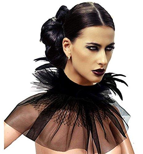 keland Frauen viktorianischen natürlichen Feder Tüll Halskette Kragen Wickelkragen Halloween Bib Schal (Schwarz (Feder & (Halloween Schal)