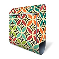 Banjado Design Briefkasten mit Motiv Diamant Muster | Stahl pulverbeschichtet mit Zeitungsrolle | Größe 39x47x14cm, 2 Schlüssel, A4 Einwurf, inkl. Montagematerial