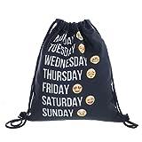 Emoji Week settimana Emoticons Smileys sacchetto Stringbag Borsa di juta Sacca Borsa sportiva Hipster Sack Borsa a tracolla Loomiloo Swag