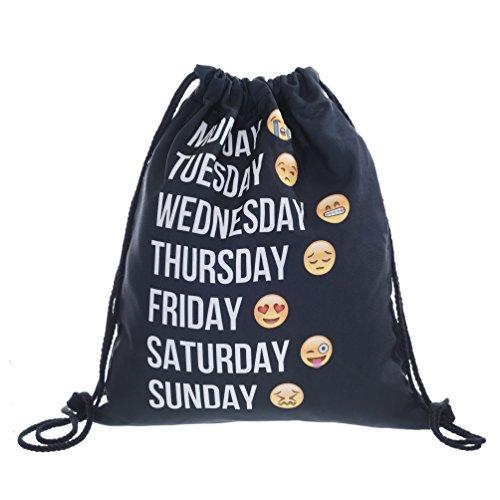 Imagen de ocona© emoji emoticons smileys turn bolsa  bordar stringbag week, negro alternativa