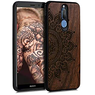 kwmobile Holz Schutzhülle für Huawei Mate 10 Lite - Hardcase Hülle mit TPU Bumper Walnussholz in Aufgehende Sonne Design Dunkelbraun - Handy Case Cover