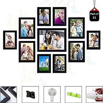 Art Street Set of 11 Individual Black Wall Photo Frames Wall Decor Free Hanging Accessories Included ||Mix Size||6 Unit 4x6, 4 Units 5x7,1 Unit 8x10 inches||