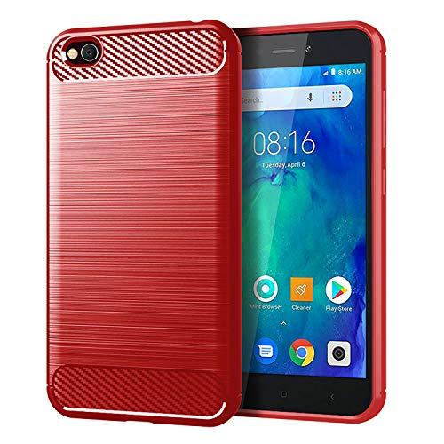 Prevoa Funda Xiaomi Redmi Go,[Ultra-Delgado][Shock-Absorción][Anti-Arañazos] TPU Silicona Parachoques Funda para Xiaomi Redmi Go - Rojo
