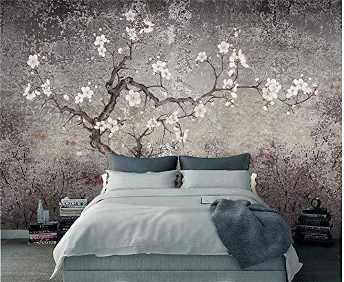 tapete grau punkte rosa 1m2 Tapete Wandbild Neue Chinesische Hand Blume Blume Und Vogel Wohnzimmer Wandbild 3d Vintage Plum Hintergrund Tapete -